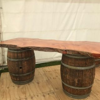 Wine Barrel Bar with macrocarpa top